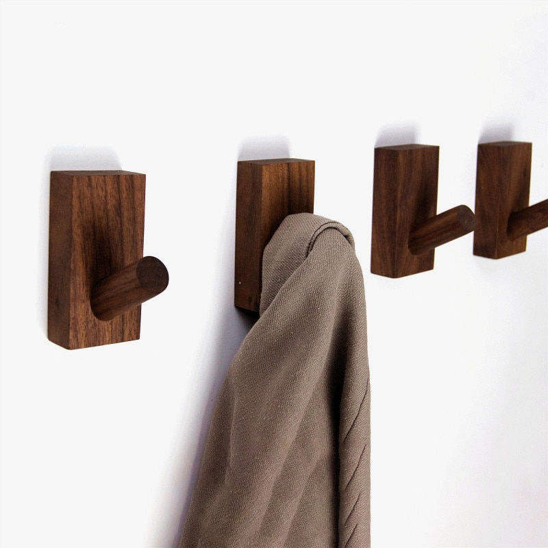 Wooden Coat Hook Natural Wood Clothes Hanger Home Decoration Clothes Bag Hat Headphone Hanger Key Holder Hallway Wall Hook