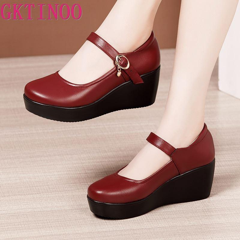GKTINOO 2021 الربيع أحذية من الجلد المرأة منصة أسافين حذاء عالية الكعب جولة تو لينة وحيد الأبيض النساء مضخات كبيرة الحجم 33-43
