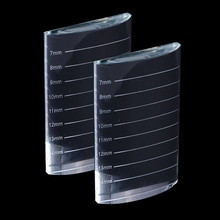 Supporto per espositore in vetro per estensione ciglia cuscinetto per colla per ciglia individuale Pallet Crystal U curvo/dritto strumento per l'estensione delle ciglia finte