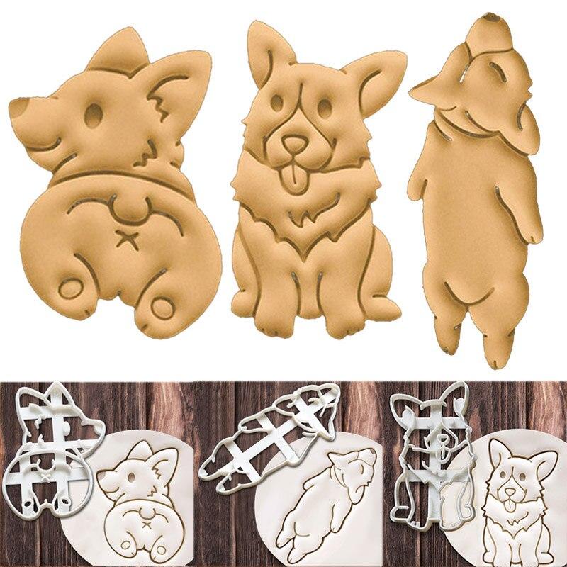Tipo 3 3 Pçs/set Corgi Cão Bonito Em Forma de Cortadores de Biscoito Molde Do Bolinho Molde Cozinha Bakeware Ferramenta DIY Ferramentas de Decoração Do Bolo