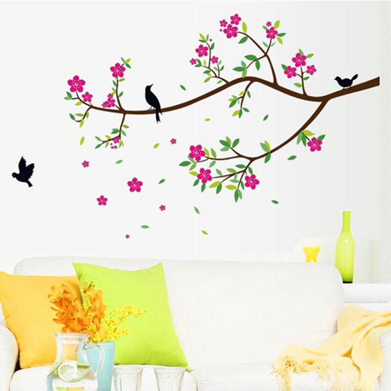 Flores removíveis stikers rosa pêssego árvore pássaros casa decoração adesivos de parede sala estar quarto família decalques