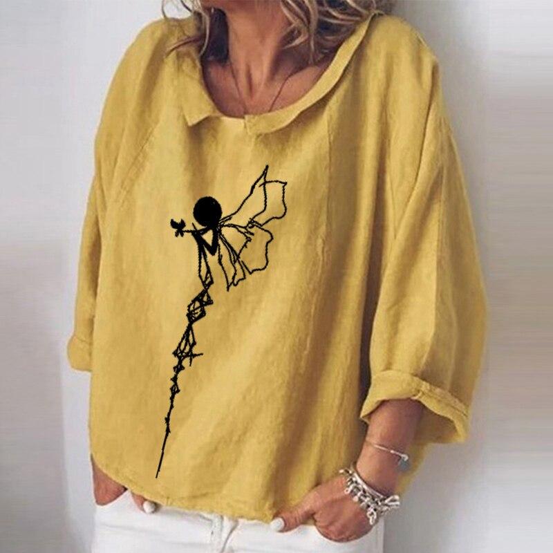 Camisas elegantes con estampado Floral para mujer de camiseta de manga larga...