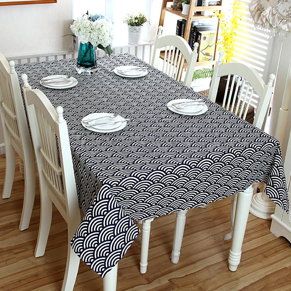 TPFOCUS 90*90CM patrón de onda impresión mantel de lino Rectangular para eventos de fiesta de boda decoración del hogar cubierta de Mesa 1 piezas