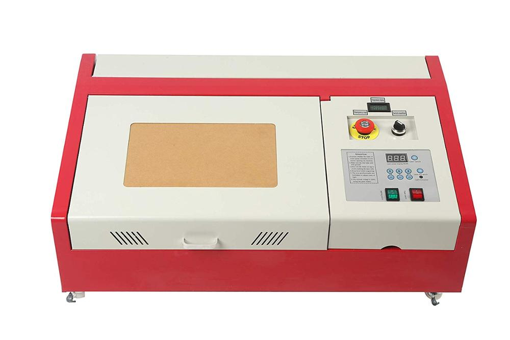 Actualización láser 40W CO2 máquina de grabado USB 300x200mm láser cuchillo de Grabado artesanía de trabajo de madera + 4 rondas