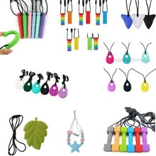Sensory Chew Necklace,Pack Silicone Chew Pendant Training and Development Toy Chew Necklace for Teet