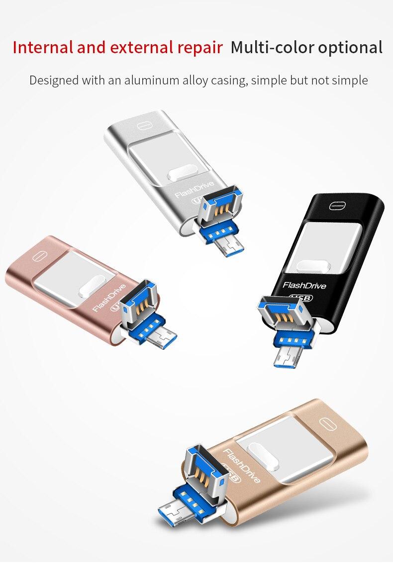 USB Otg Flash Drive 3 in1 para iPhone X/8/7/7 Plus/6/6 s/5/iPhone/ipad Usb Pendrive 3,0 HD tarjeta de memoria de 16GB 32GB 64GB 128GB 256GB
