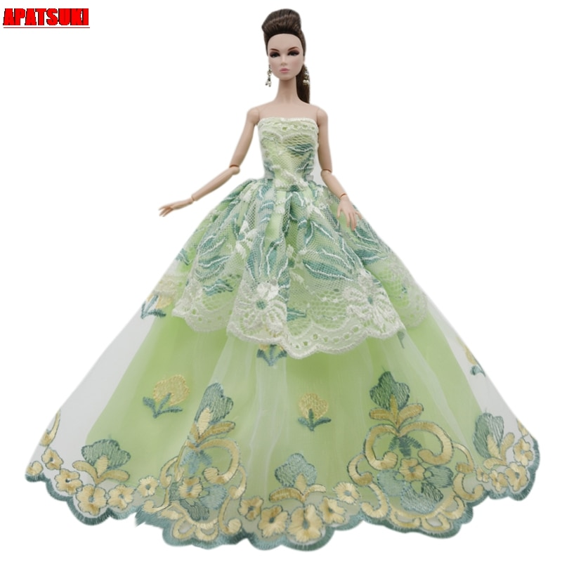 Yellow Green Flower Lace Wedding Dress For Barbie Doll Outfits Clothes Multi-layer Party Gown For 1/6 BJD Dolls Accessories Toys