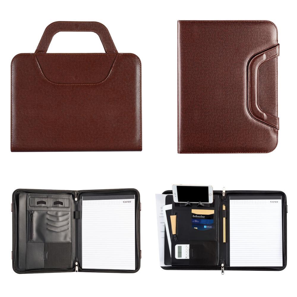 TIANSE A4 cuero PU Office Manager Padfolio archivador de documentos Carpeta de carpeta Padfolio Notebook Handle Zipper