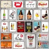 Biere belge signes Detain En Metal Plaque En Metal Vintage Barre Murale Maison Art Retro Artisanat Decor de Cinema 30X20CM DU-6741A