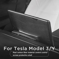 car central control screen back cover protective shell for tesla model 3 model y 2018 2021 real carbon fiber accessories