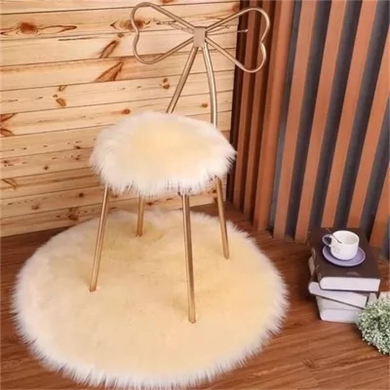 سجادة مستديرة من جلد الغنم التقليد سجادة لغرفة النوم سجادة من القطيفة وسادة أريكة لغرفة الاستحمام سجادة منفوشة شعر من الفرو