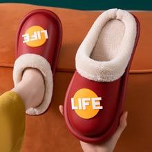 2021 Winter Warm Plush Slippers Men's Shoes Waterproof Female Couples Non-slip Plush Cotton Indoor A