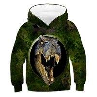 Одежда для мальчиков и девочек на весну, для детей в возрасте 4-14 лет тонкая толстовка с капюшоном, с рисунками животных, динозавр 3d печати дл...