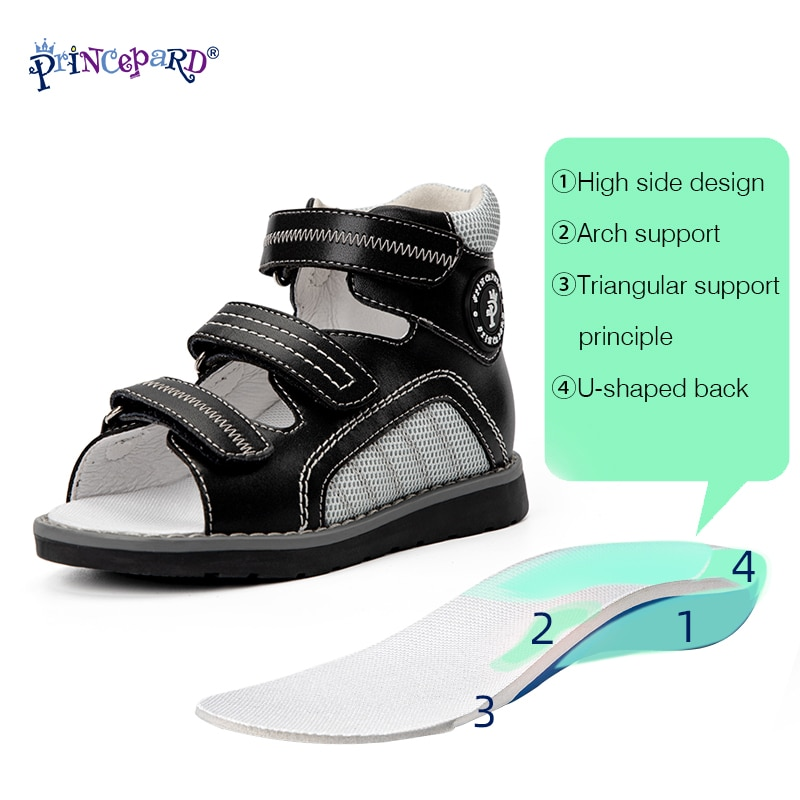 Princepard Kids Orthopedic Snadals Summer Correction Shoe for Flat Foot Increased Ankle Support with Thomas Heel Boys and Girls