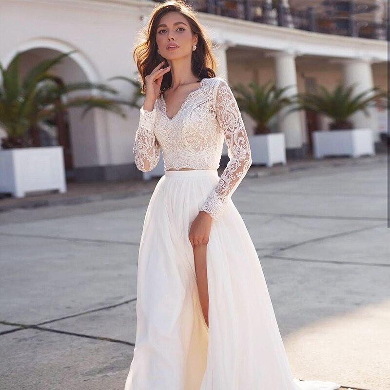 2 Pieces Wedding Dress 2020 V-Neck Long Sleeve Lace Chiffon Side Slit Elegant Beach Bridal Gown Full Back White Ivory Customize