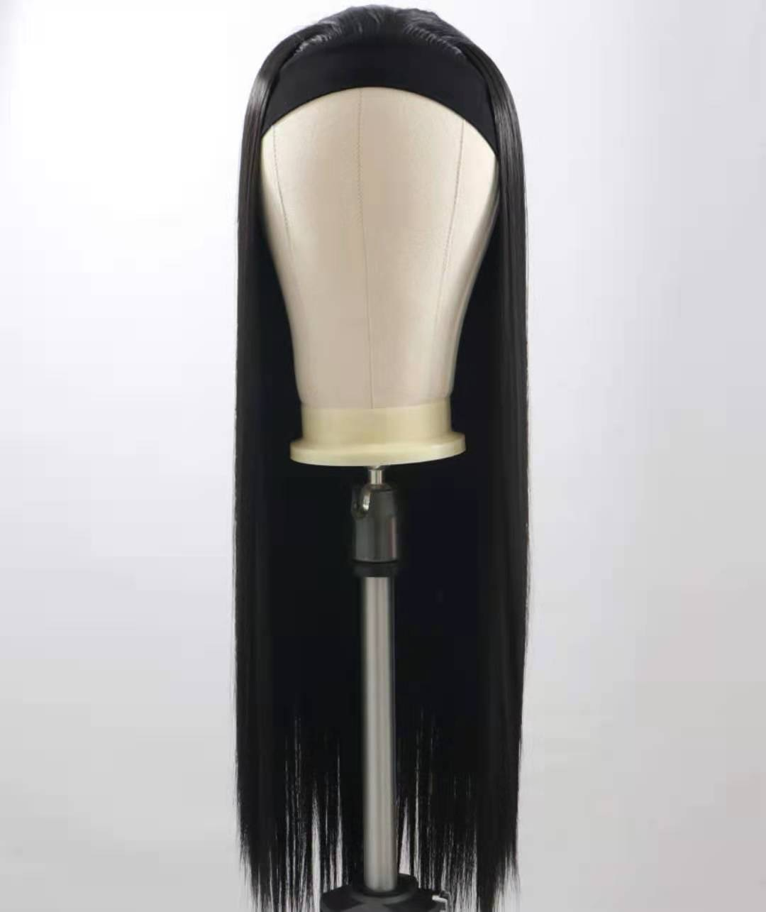 شعر أسود طويل مستقيم المرأة عقال شعر مستعار موضة غير الدانتيل الباروكات للنساء ارتداء سهلة بيروكات صناعية