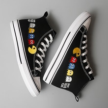 Women Vulcanized Shoes Fashion Flat Canvas Shoes Student Casual Sneakers Cartoon Embroidery Skateboa