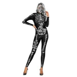 New 3D Horror Silver Gold Skeleton Costume Cosplay Halloween Thriller Costume Women Horror Anime Performance Costume
