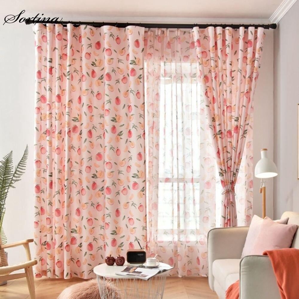 Cortinas de ventana de estilo nórdico, color rosa, para sala de estar, 2 colores, salón de decoración de dormitorio