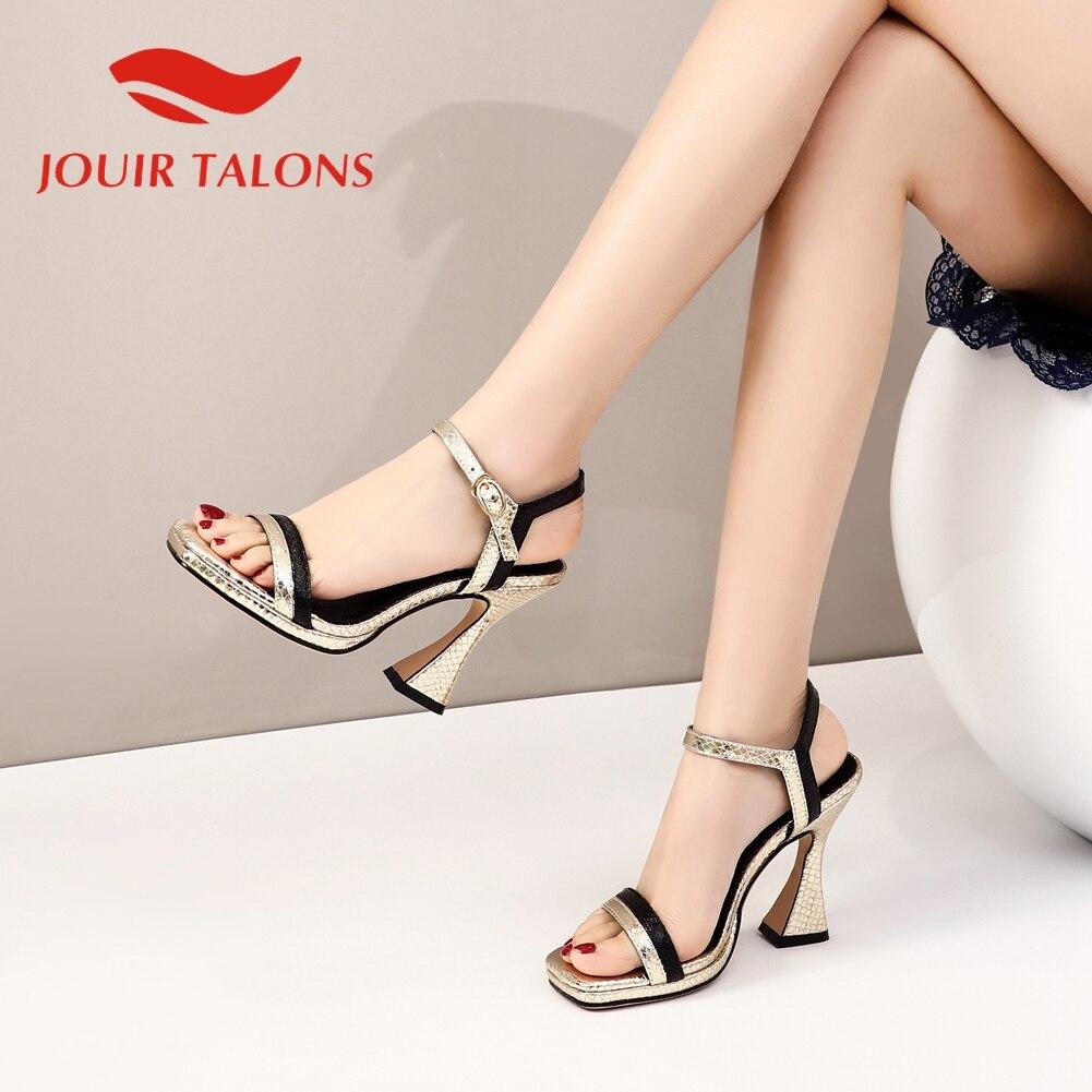 JOUIR TALONS 2020 Brand Design Big Size 43 Women Sandals Strange Style Heels Metal Decoration Pumps Summer Casual Woman Shoes