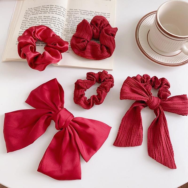 Acessórios para o cabelo coreano faixas de cabelo vermelho cereja grampo de cabelo arco corda de cabelo anel de rabo de cavalo laços corda elástica faixas de cabelo