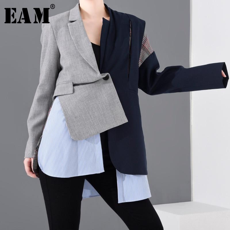[EAM]  Women Blue Plaid Asymmetrical Big Size Blazer New Lapel Long Sleeve Loose Fit  Jacket Fashion Spring Autumn 2021 1N90102