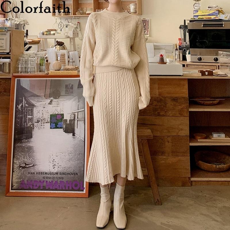 Colorfaith 2021 جديد الخريف الشتاء امرأة 2 قطعة مجموعات تنورة وأعلى مجموعة البوق عالية الخصر محبوك أنيقة بدلات نسائية WS3021