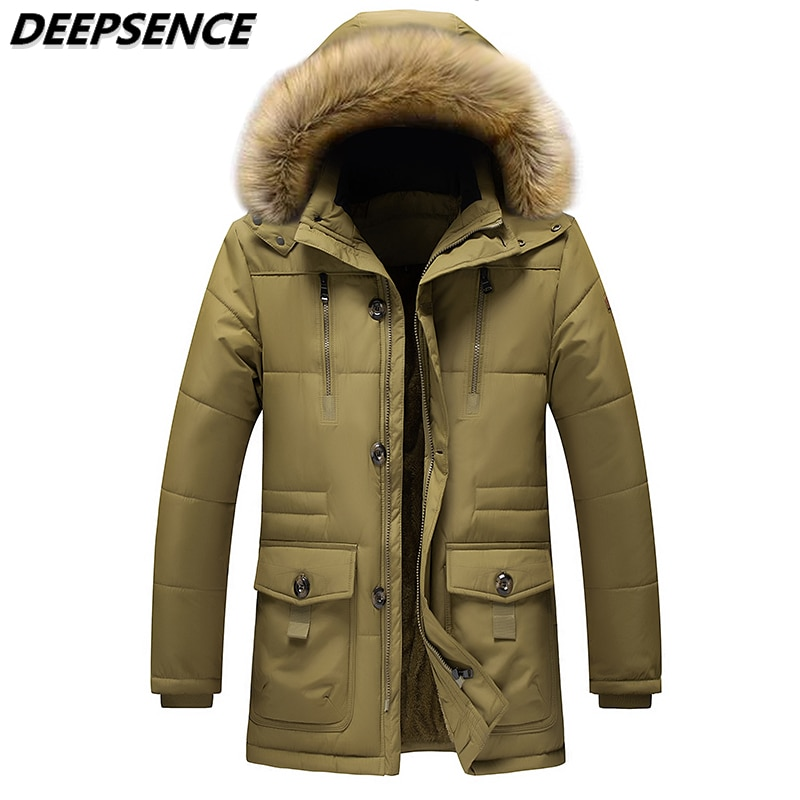 2021 Men  Winter Fleece Thicken Warm Parkas Jacket Male Detachable Hooded Fur Collar Coats Fashion O