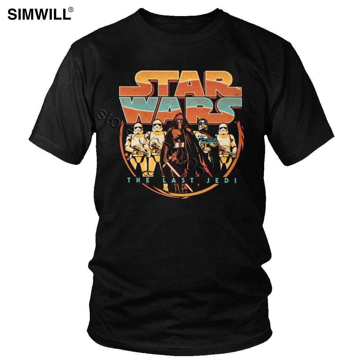 Retro Star Wars T-shirts Men Print Short Sleeved Cotton Kylo Ren T shirt Round Neck The Last Jedi Tees Custom Graphic Tops