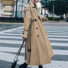 Winter Clothes Women Korean Fashion Mid-length Khaki Windbreaker Loose Jackets For Ladies 2021 Briti