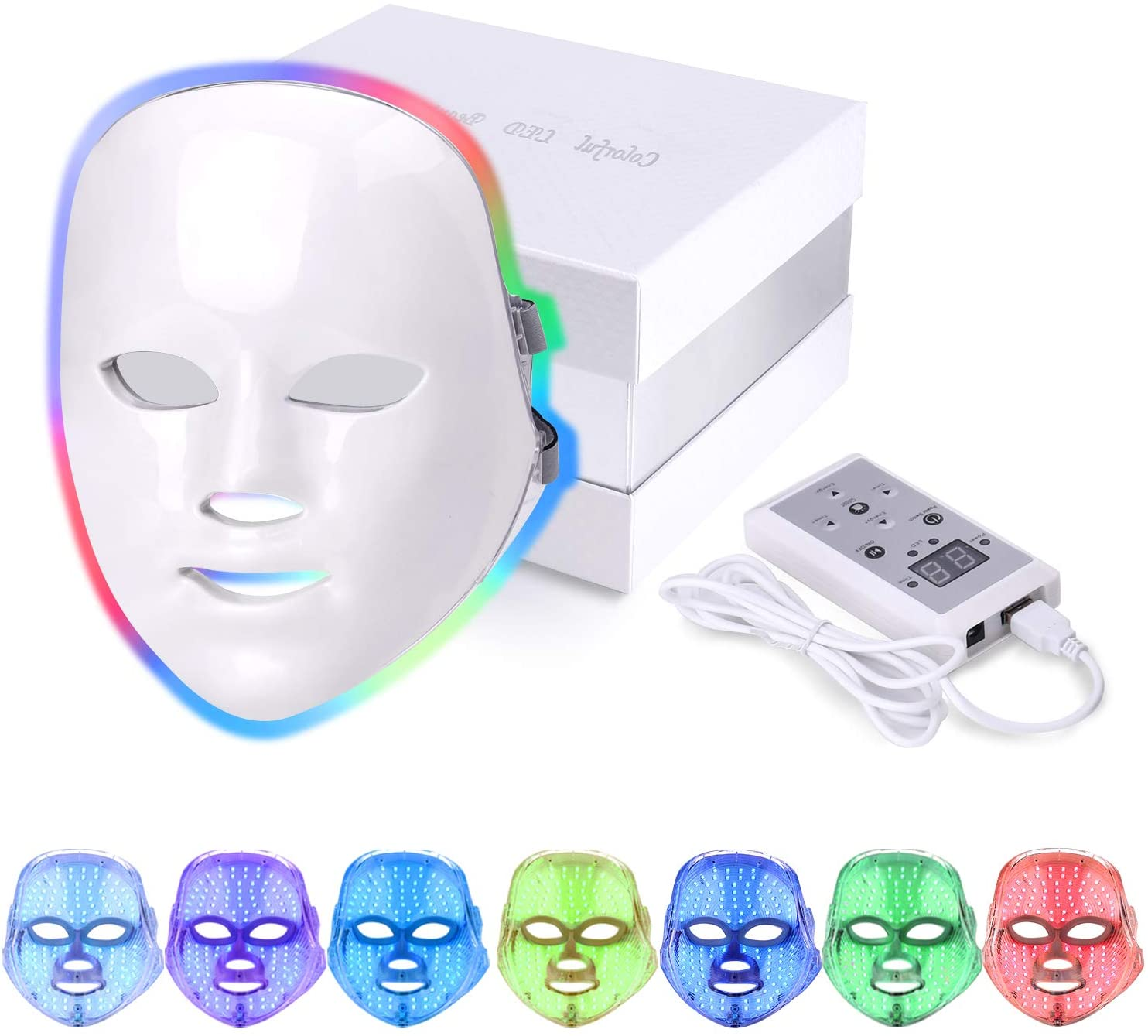 BTgirl LED terapia máscara Facial 7 colores fotón máscara Facial máquina para la eliminación de acné arrugas rejuvenecimiento de la piel cuidado de la piel