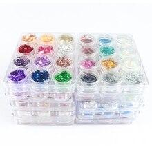 12 boîtes/ensemble holographique mélangé paillettes poudre avec papier daluminium Nail Art décorations brillant bricolage accessoires pour ongles manucure