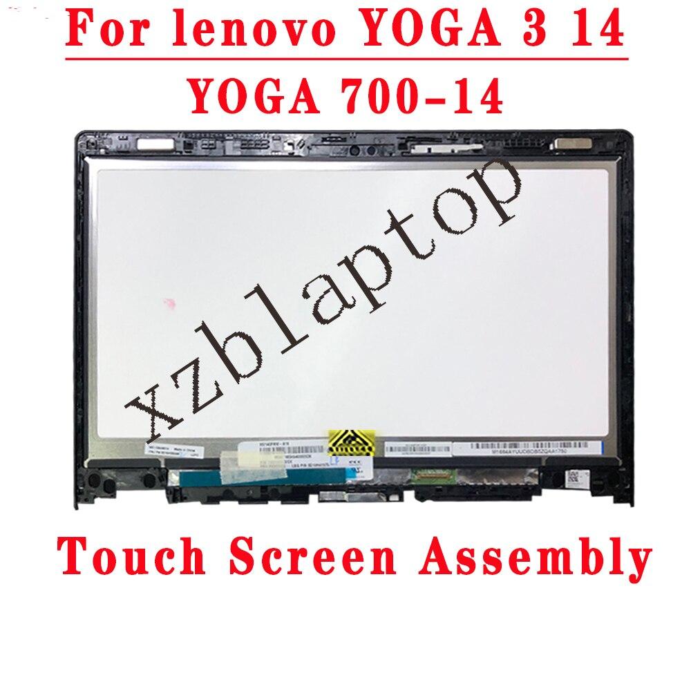 NV140FHM-A10 LCD شاشة عرض الجمعية + تعمل باللمس الزجاج محول الأرقام مع الإطار لينوفو اليوغا 3 14 80JH 80QD اليوغا 700-14ISK