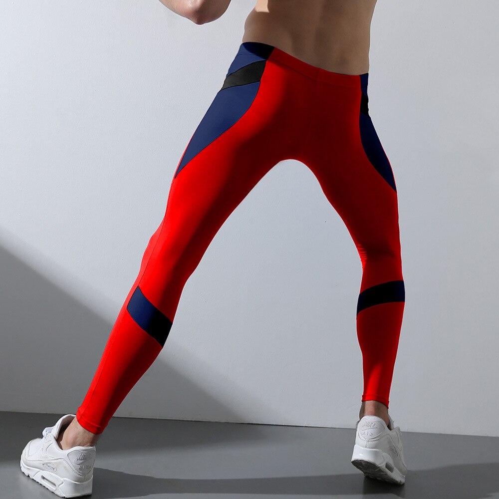2020 kontrast Farbe Sexy Herren Leggings Männer Laufhose Dünne Fleece Winter Thermische Sport Strumpfhosen Compression Hosen GYM Leggins