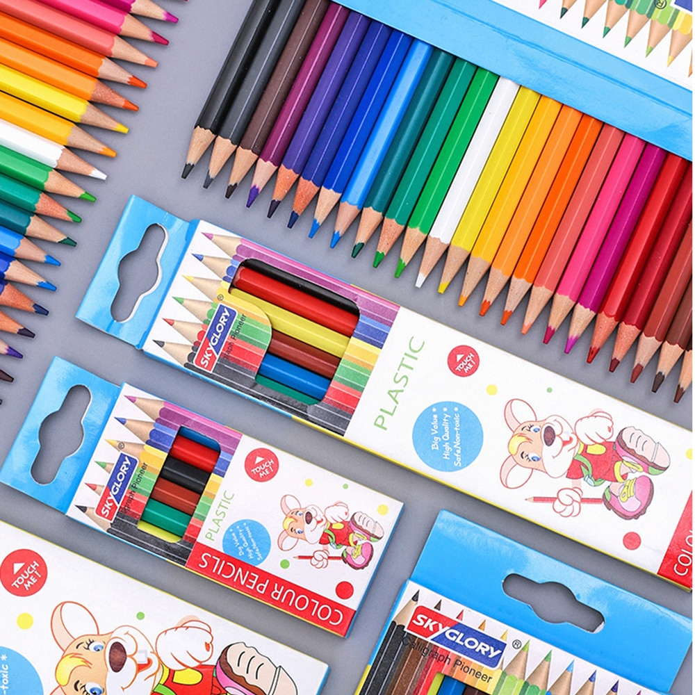 Фото - 6/12/18/24 Color Kawaii Color Pencils Cute Wooden Colored Pencil Set Wood Color Pencil for Kid School Graffiti Drawing Painting stabilo wooden colored pencils 2606803 colored pencil for boys and girls children sets