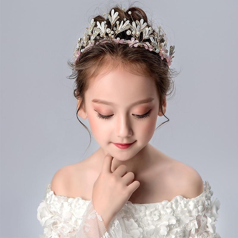 Princess Crown Kids Girls Birthday Show Gift Crown Tiara Diadem Crystal Floral Wedding Bridal Hair Head Accessories недорого