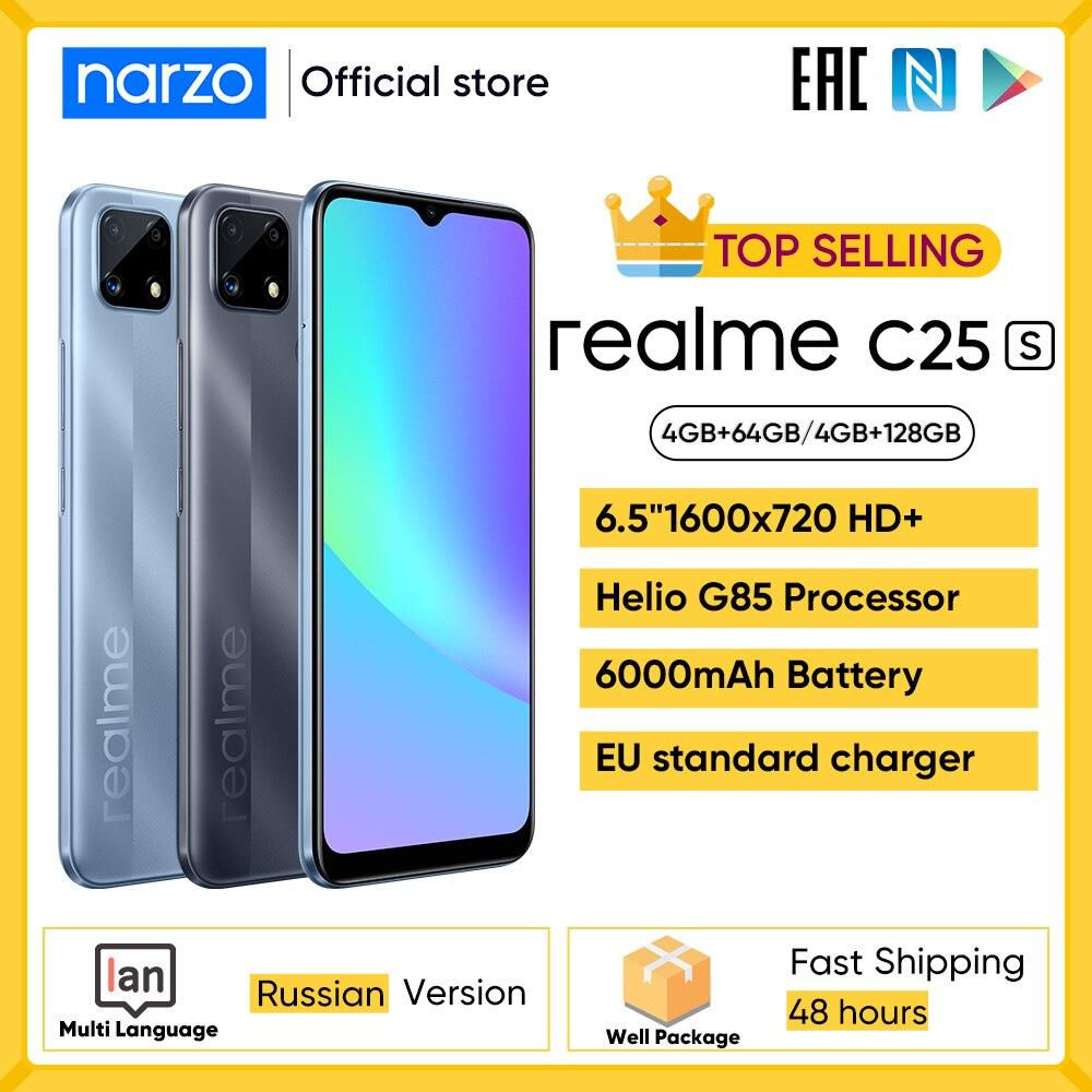 realme C25S cellphone 4GB 64GB 4GB 128GB Russian Version Helio G85 Octa-cor 6.5''Display 6000mAh 18W Quick Charge narzo