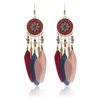 bohemia national wind disc pattern drip earrings wood bead diamond alloy stud earrings female leaves feathers