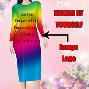 FORUDESIGNS Custom Image/Logo/NameWomen Dresses Evening Long Sleeve Bodycon Sexy Dress For Lady Dress Wholesale Direct Delivery