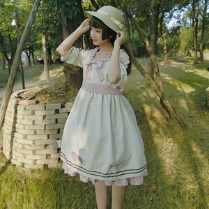 Japanese Harajuku sweet lolita dress vintage bowknot puff sleeve high waist princess tea party victorian dress kawaii girl op
