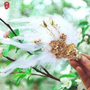 QIANAO White color feather pearl Hair Sticks Chinese Retro Style hair accessories alloy Fairy Hairpin Headwear