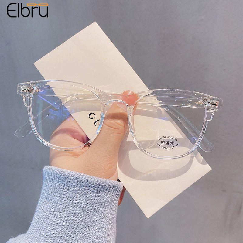 AliExpress - Elbru Anti Blue Light Computer Myopia Glasses Women Men Ultralight Clear Round Nearsighted Eyeglasses Diopters 0 to-600 Unisex