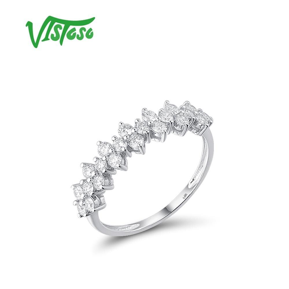 Showful-585 خاتم من الذهب الأبيض عيار 14 قيراطًا مرصع بالألماس اللامع ، خاتم خطوبة ، هدية الذكرى السنوية ، مجوهرات راقية