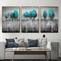3 pieces wall decoration paintings blue tree posters landscape paintings on the wall black and grey picture for interior