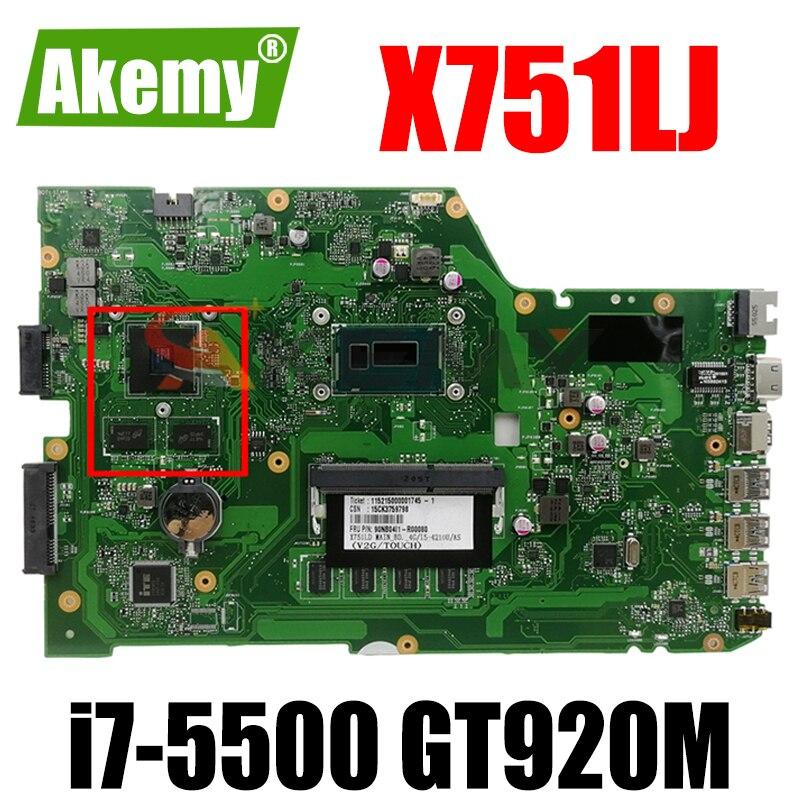 X751LJ i7-5500CPU 4GB RAM GT920M/V2G اللوحة REV2.3 ل ASUS X751L R752LA R752LD X751LN X751LD X751LJ A751L اللوحة المحمول