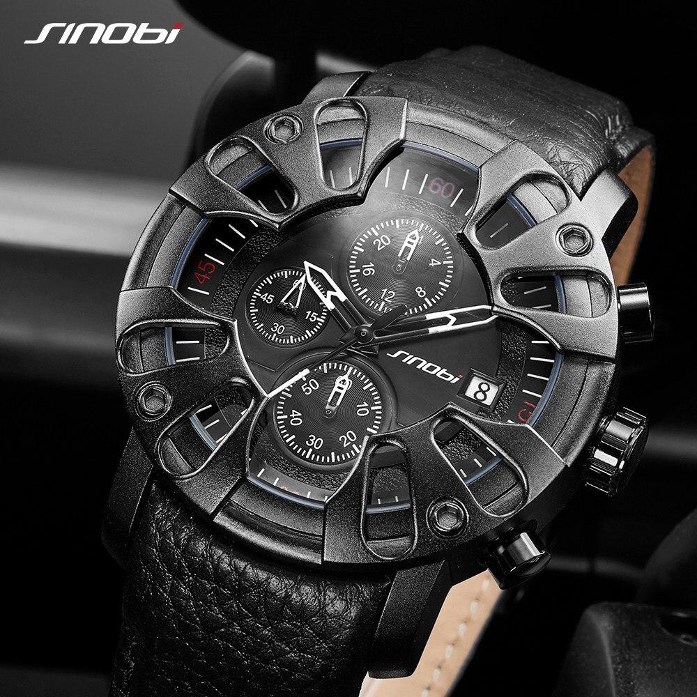 Sinobi-ساعات جلدية للرجال ، تصميم سيارة إبداعية ، أزياء رجالية ، أفضل العلامات التجارية ، ساعة يد كوارتز ، كرونوغراف عسكري