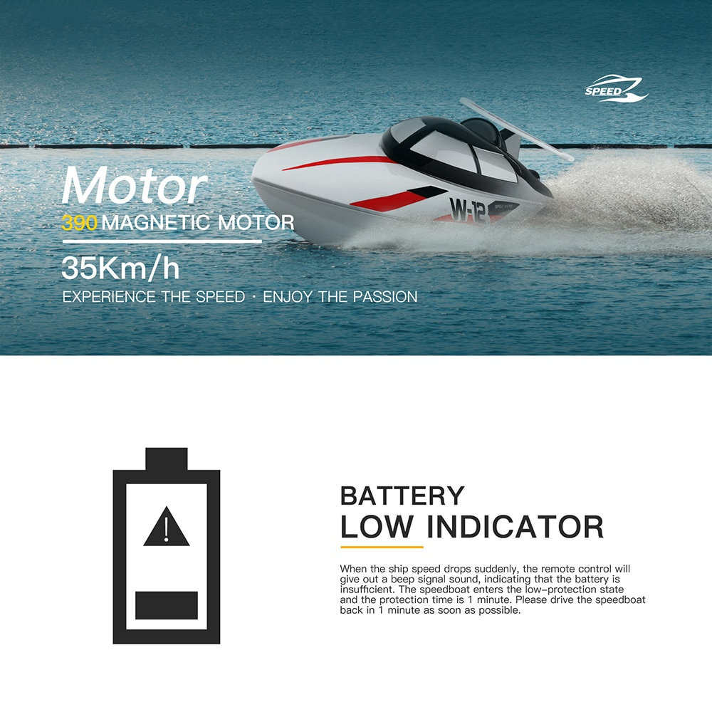 WLtoys WL912-A 35km/h 2.4GHz RC Fishing Boat Self Righting High Speed Remote Control Motorboats for Pools and Lake Toys for boys enlarge