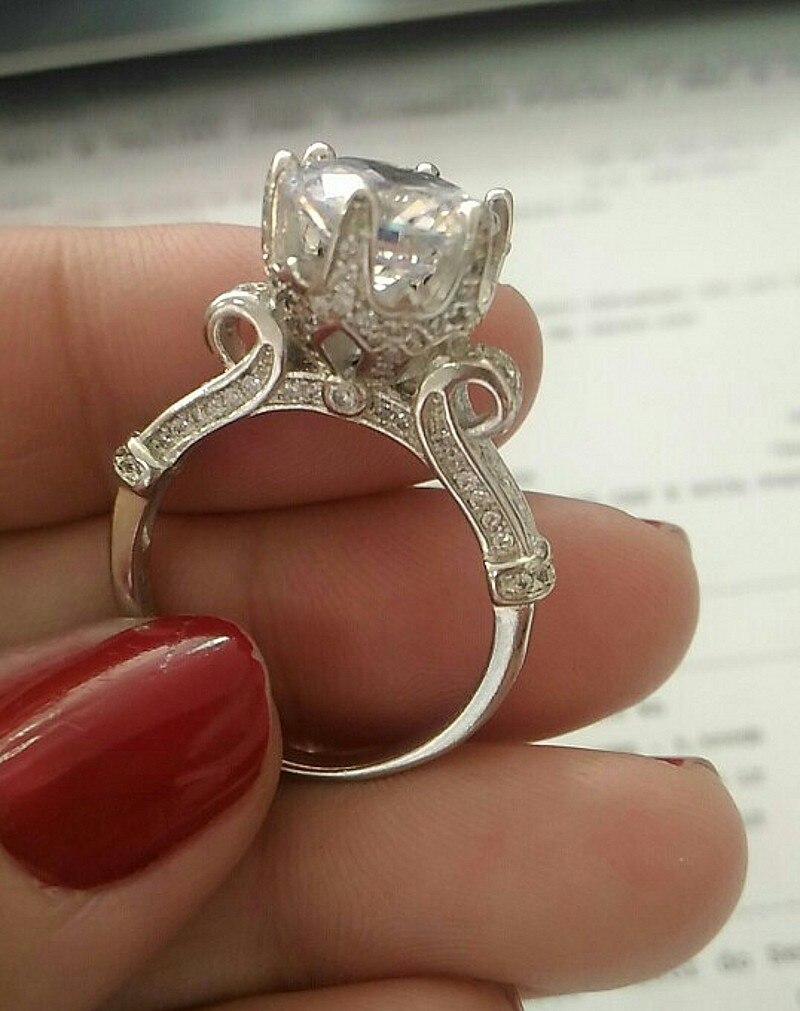 Tres estilos de anillos de plata de ley 925 sólida Real para las mujeres flor 6 CT anillo de compromiso de diamante de imitación joyería fina