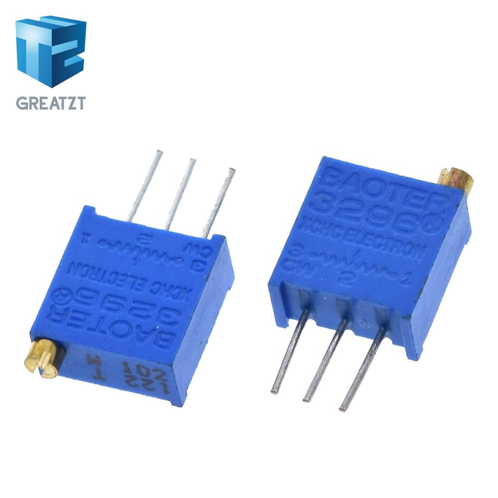 GREATZT 10 шт 3296W 1k 2k 5k 10k 20k 50k 100k 200k 500k 1M 1ohm Trim Pot Trimmer Тип потенциометра для Arduino