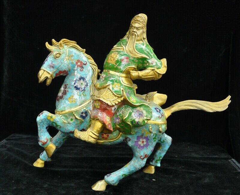 Decoração de casamento china bronze cloisonne esmalte dourado cavalo guan gong yu guerreiro deus estátua